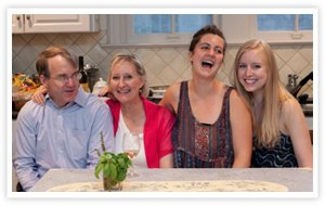 Dad, Louise, Sarah and Lizzy laughing at the kitchen table